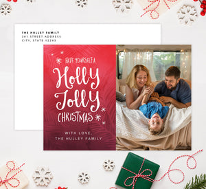 Holly Jolly Holiday Card Mockup; Holiday card with envelope and return address printed on it.