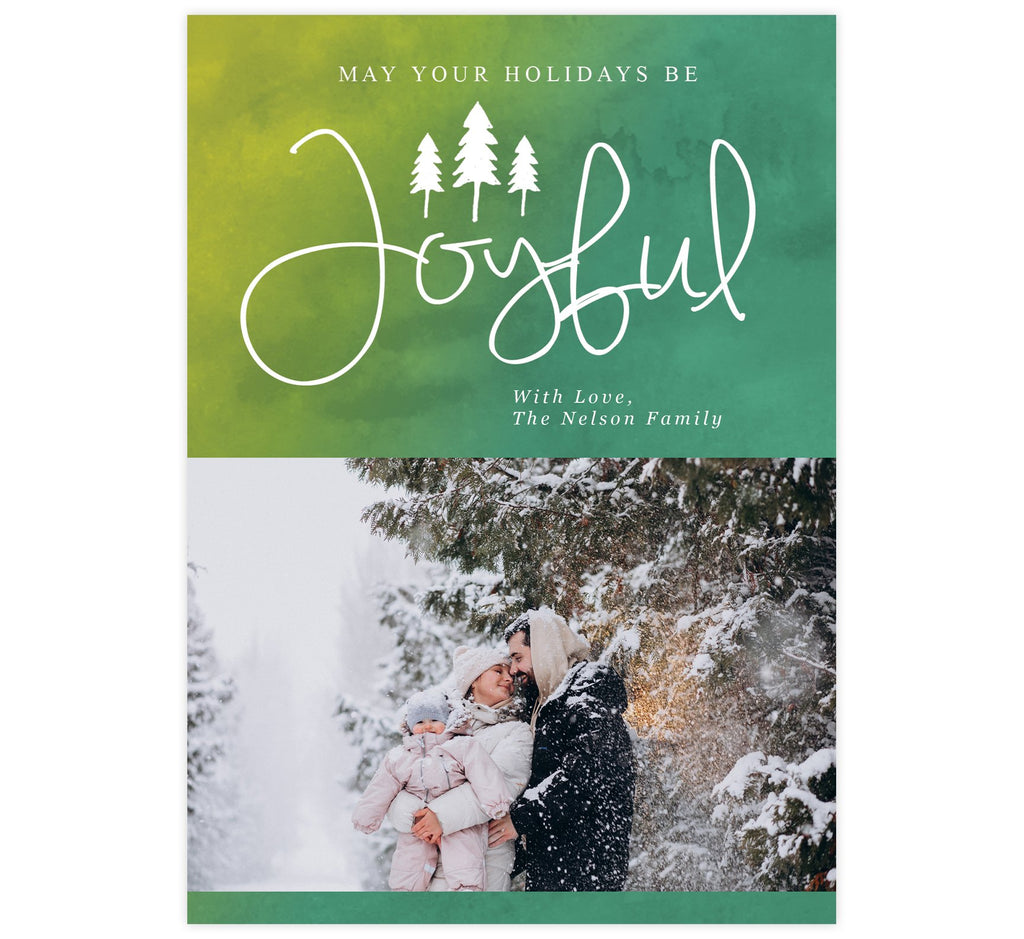 Joyful Holidays Holiday Card; Green watercolor background with white text and one image spot