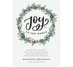 Joyous Wreath Holiday Card; White background with large watercolor wreath and joy to the world inside