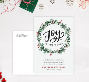Joyous Wreath Holiday Card; Holiday card with envelope and return address printed on it.
