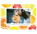 "Load image into Gallery viewer, Lemony Sweet Holiday Card; Colorful watercolor lemon slices background with one image spot in the middle and small ""Happy Holidays"" under the image."