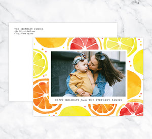 Lemony Sweet Holiday Card Mockup; Holiday card with envelope and return address printed on it.
