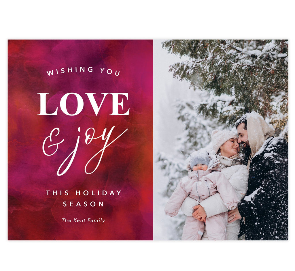 Love and Joy Holiday Card; Red and pink watercolor background with white text and one image spot.