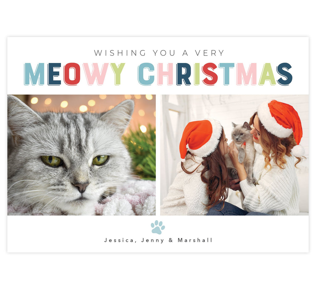 "Meowy Christmas Holiday Card; White background with ""Meowy Christmas"" at the top and 2 image spots"