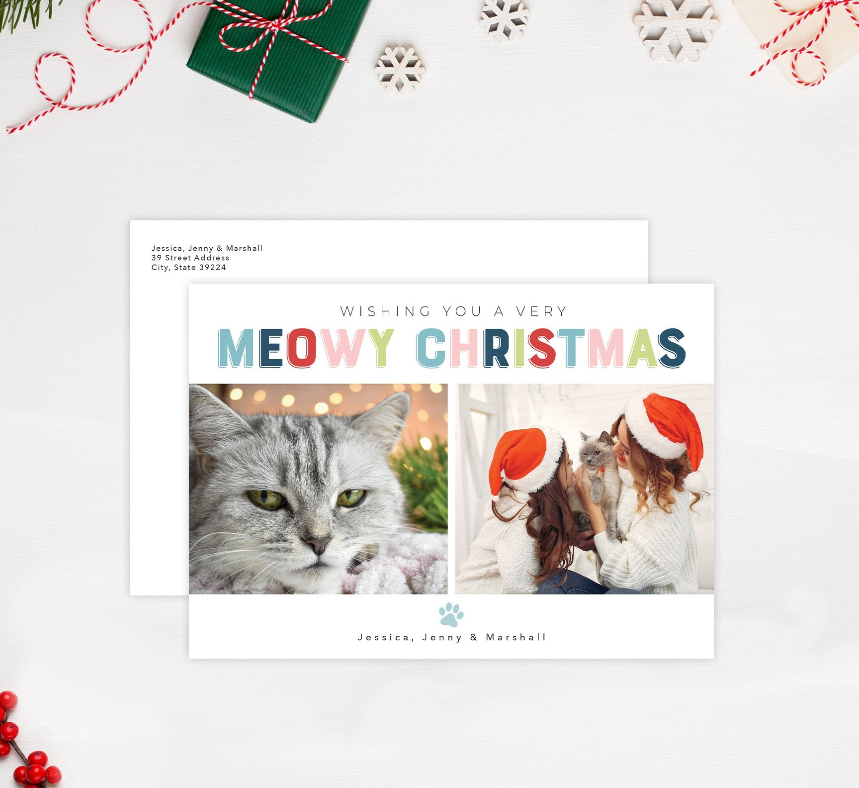 Meowy Christmas Holiday Card Mockup; Holiday card with envelope and return address printed on it.