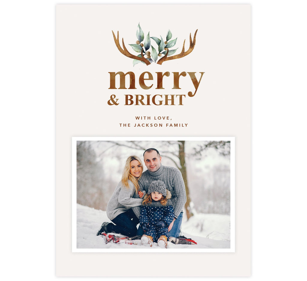 Merry Antlers Holiday Card; Cream background with watercolor antlers design at the top and one image spot.