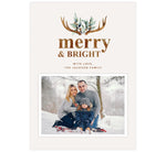 Load image into Gallery viewer, Merry Antlers Holiday Card; Cream background with watercolor antlers design at the top and one image spot.