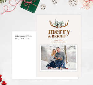 Merry Antlers Holiday Card Mockup; Holiday card with envelope and return address printed on it.