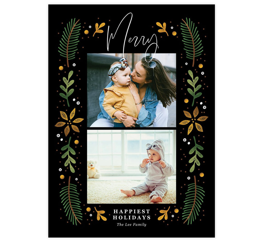 Merry Frame Holiday Card; 2 image spots with dark background and colorful distressed graphics