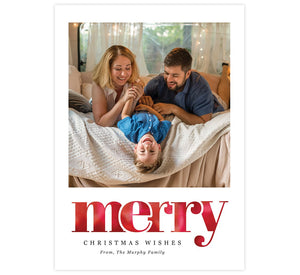 Merry Holiday Card; 1 large image spots with white background and watercolor 'merry' below the image.