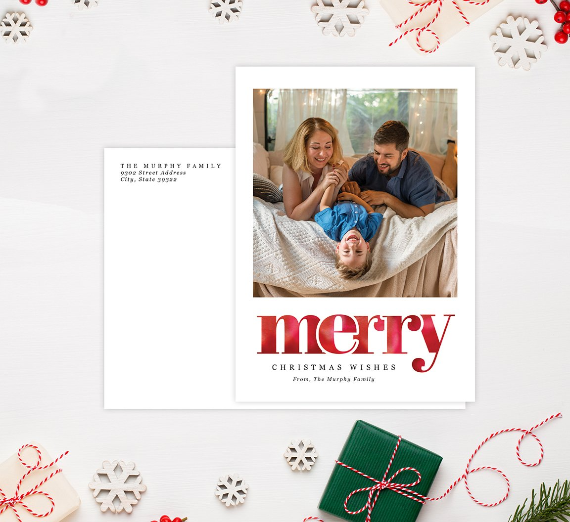 Merry Holiday Card Mockup; Holiday card with envelope and return address printed on it.