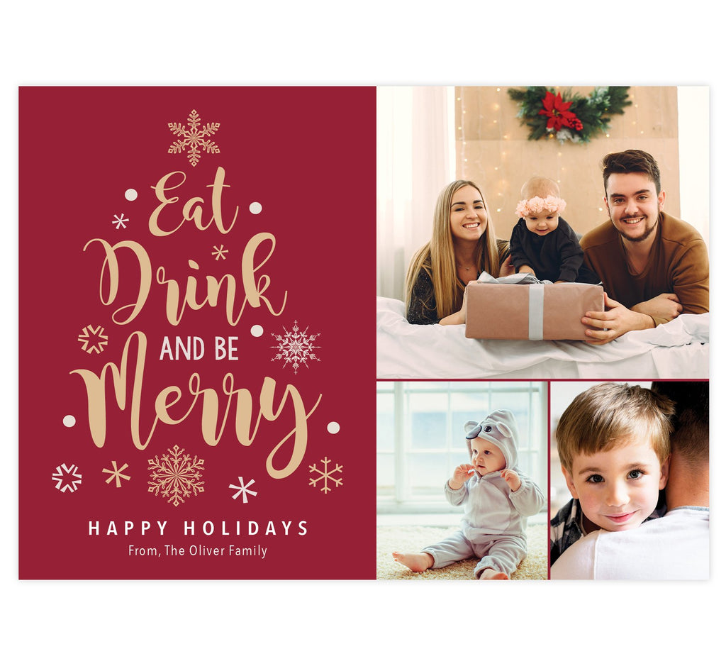 "Merry Tree Holiday Card; Red background with 3 image spots on the right side. Gold and white text and images in the shape of a tree on the left ""eat drink and be merry."""