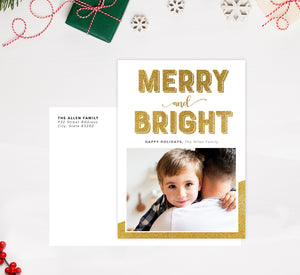 Merry and Bright Holiday Card; Holiday card with envelope and return address printed on it.