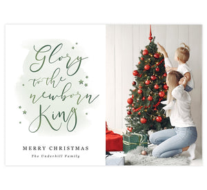 Newborn King Holiday Card; 1 large image spots with white background with green watercolor and typography