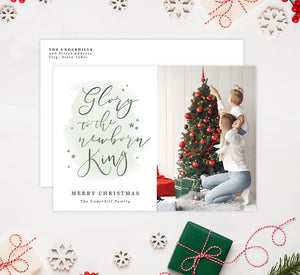 Newborn King Holiday Card Mockup; Holiday card with envelope and return address printed on it.