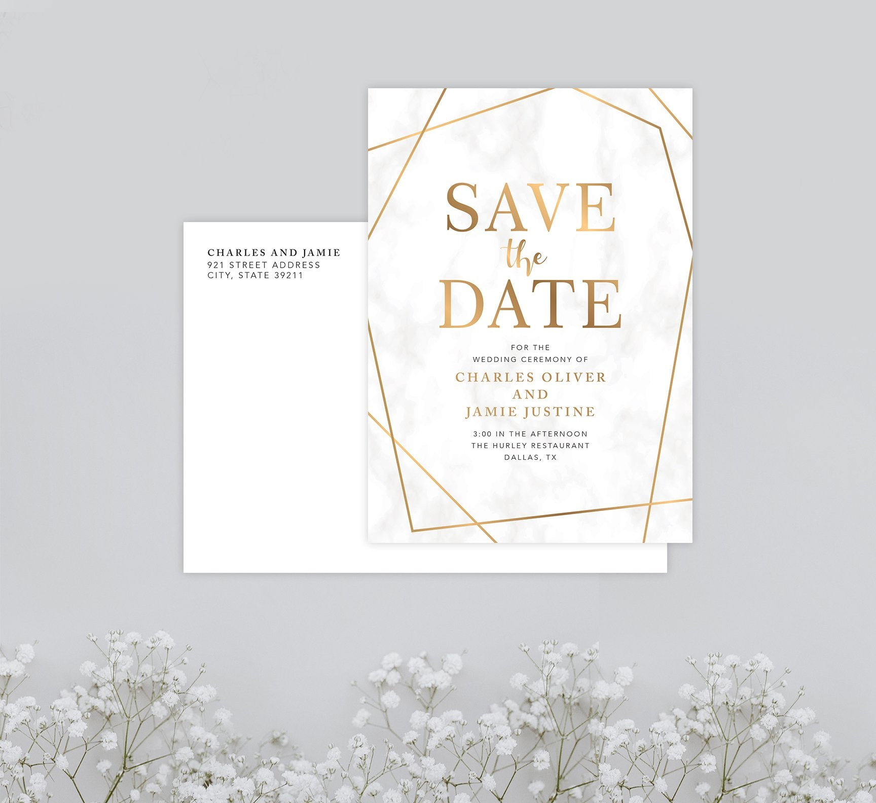 Precious Marble Save the Date Card Mockup