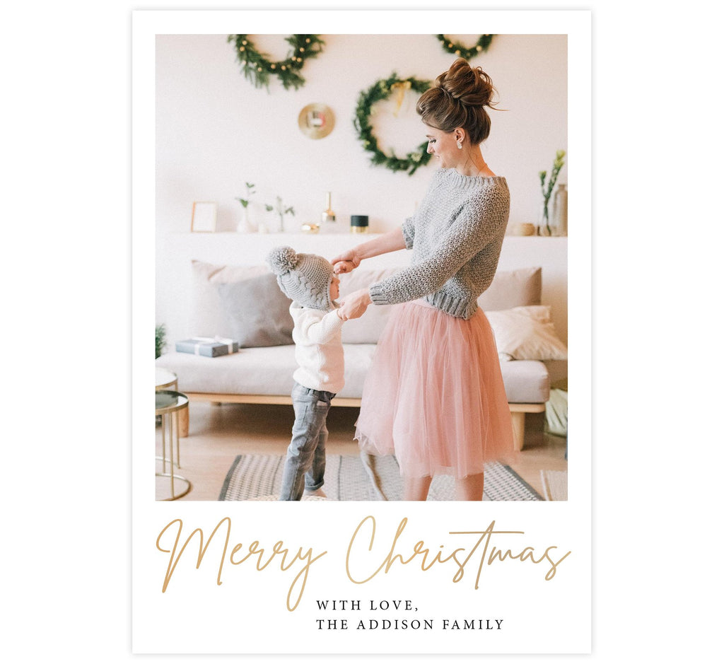 "Simple Christmas Holiday Card; White background with one large image spot and gold ""Merry Christmas"" under the image."