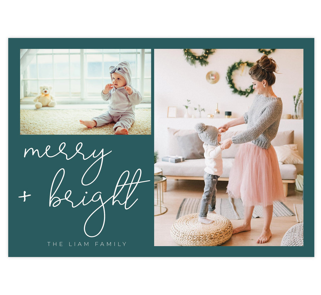 "Snowflake Script Holiday Card; Dark teal background with 2 image spots and ""merry and bright"" in white."