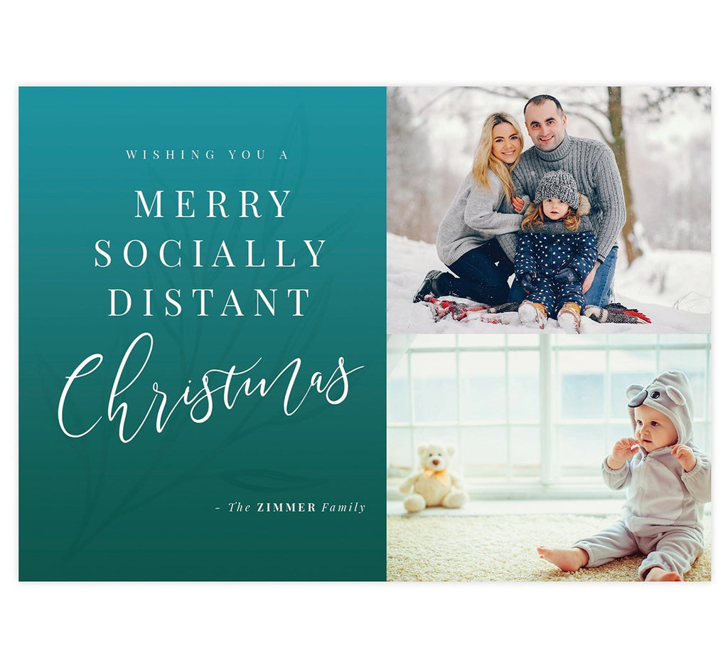 Socially Distant Holiday Card; 1 large image spots with white background with blue watercolor and white typography