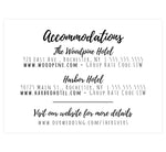 Load image into Gallery viewer, Lovely Skyline Wedding accommodation/detail card; white background with black text