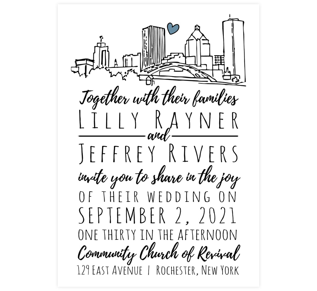 Lovely Skyline wedding invitation; white background with hand drawn Rochester, NY skyline and black text