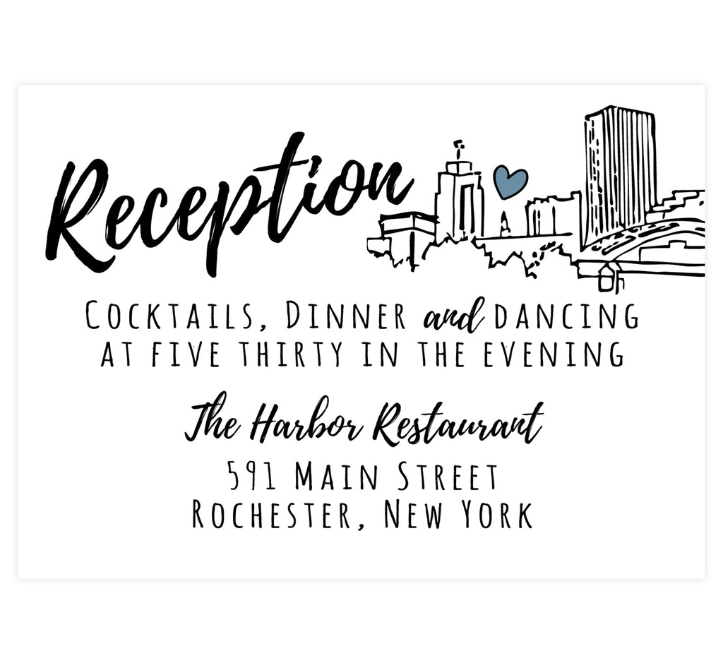 Lovely Skyline wedding reception card; white background with black text and an hand drawn outline of the Rochester, NY skyline on the right side