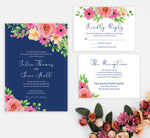 Load image into Gallery viewer, Navy Bouquet Invitation