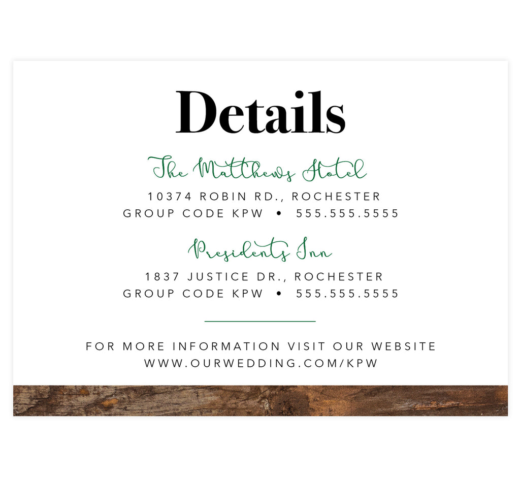 Rustic Elegance wedding accommodations/details card; white background with wood texture on the bottom edge and black and green text