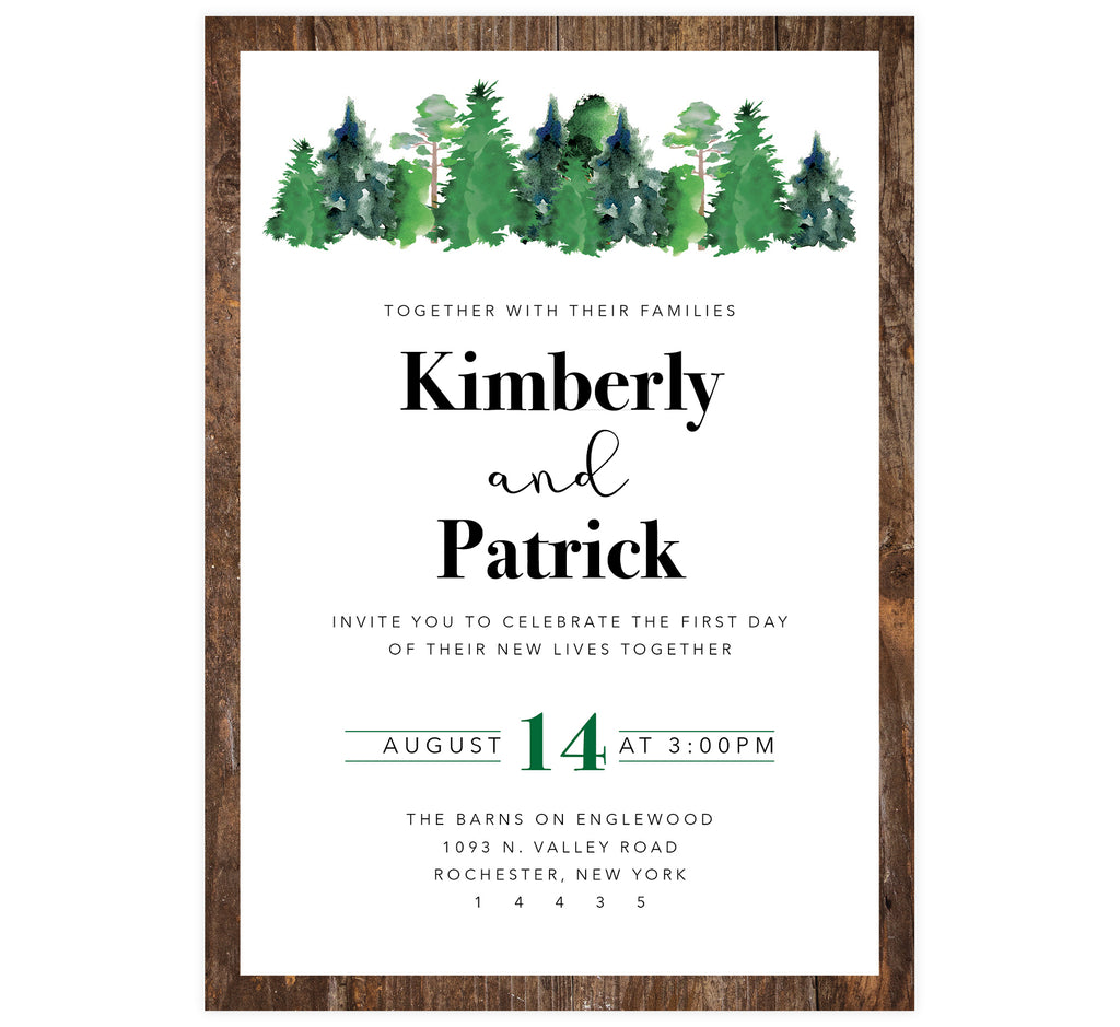 Rustic Elegance wedding invitation; wood border with black text and watercolor trees at the top
