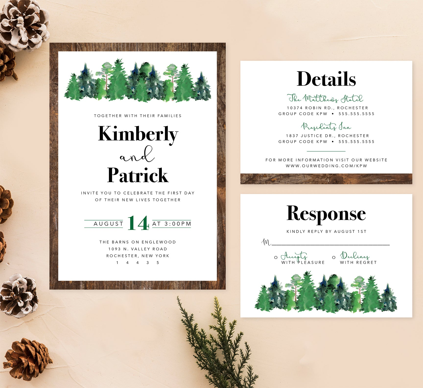 Rustic Elegance Wedding Set Mockup