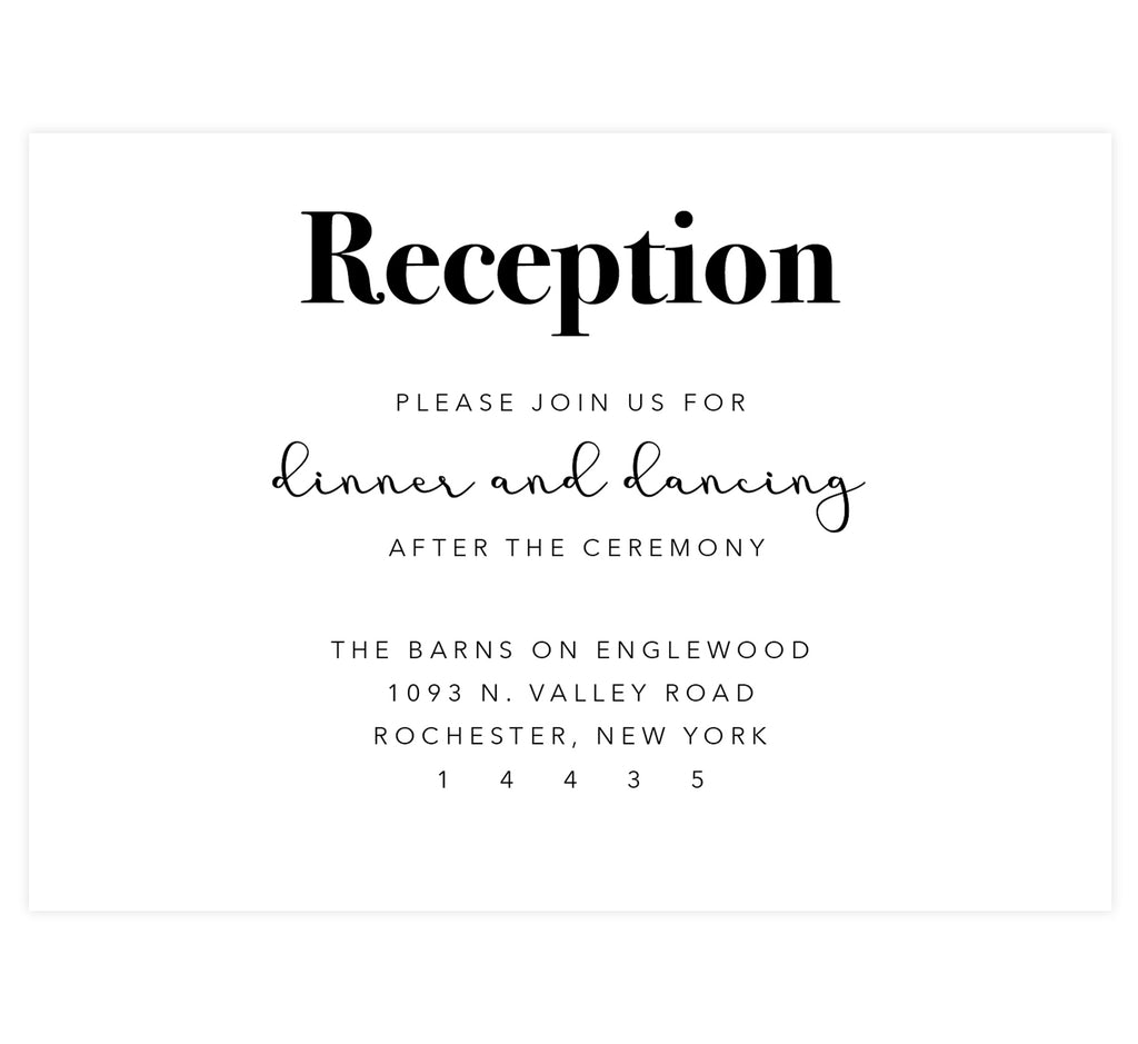 Rustic Elegance wedding reception card; white background with black text
