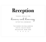 Load image into Gallery viewer, Rustic Elegance wedding reception card; white background with black text