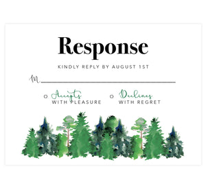 Rustic Elegance wedding response card; white background with black text and watercolor trees at the bottom
