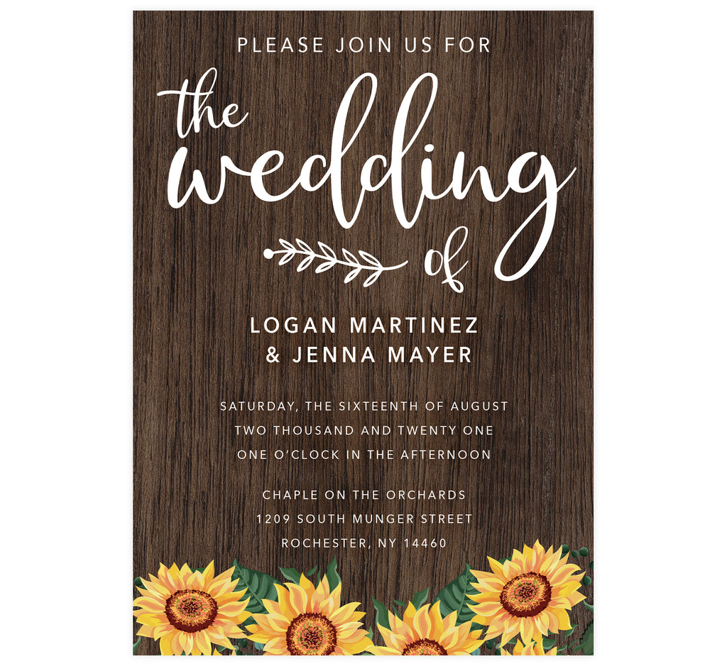 Bright Sunflower Wedding invitation; dark wood background with bright sunflowers at the bottom edge and white text