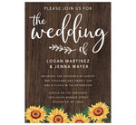 Load image into Gallery viewer, Bright Sunflower Wedding invitation; dark wood background with bright sunflowers at the bottom edge and white text