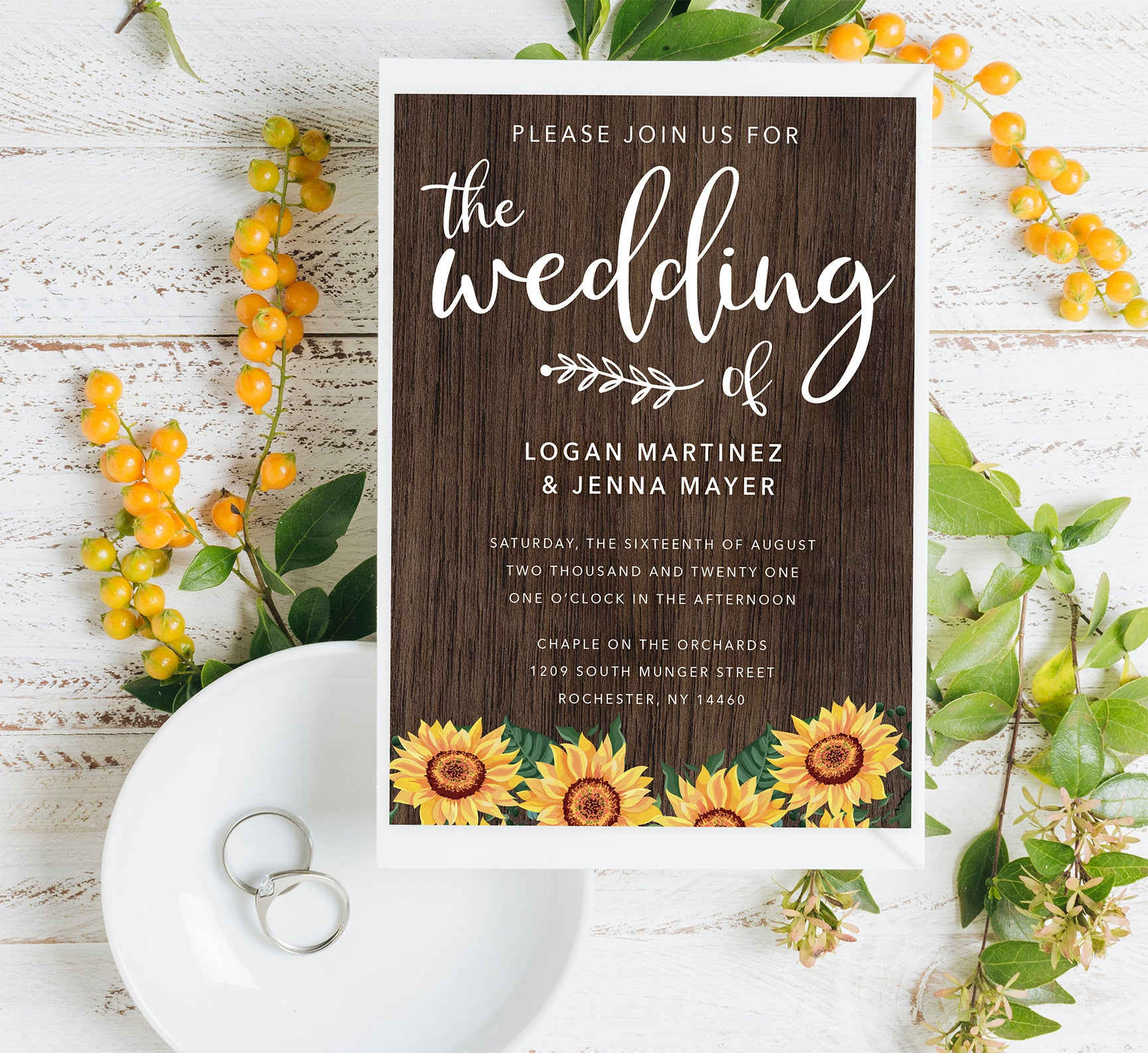Bright Sunflower Wedding Set Mockup