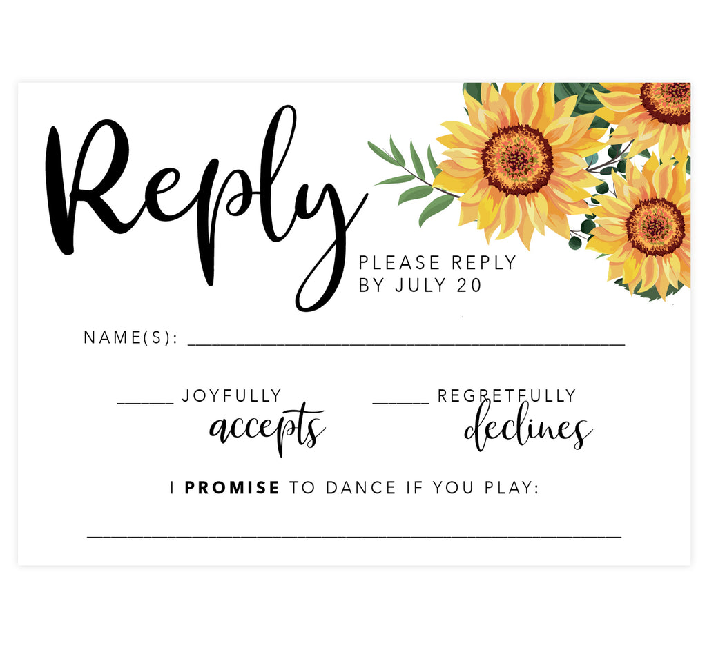 Bright Sunflower Wedding Response Card; white background with sunflowers in the top right corner and black text