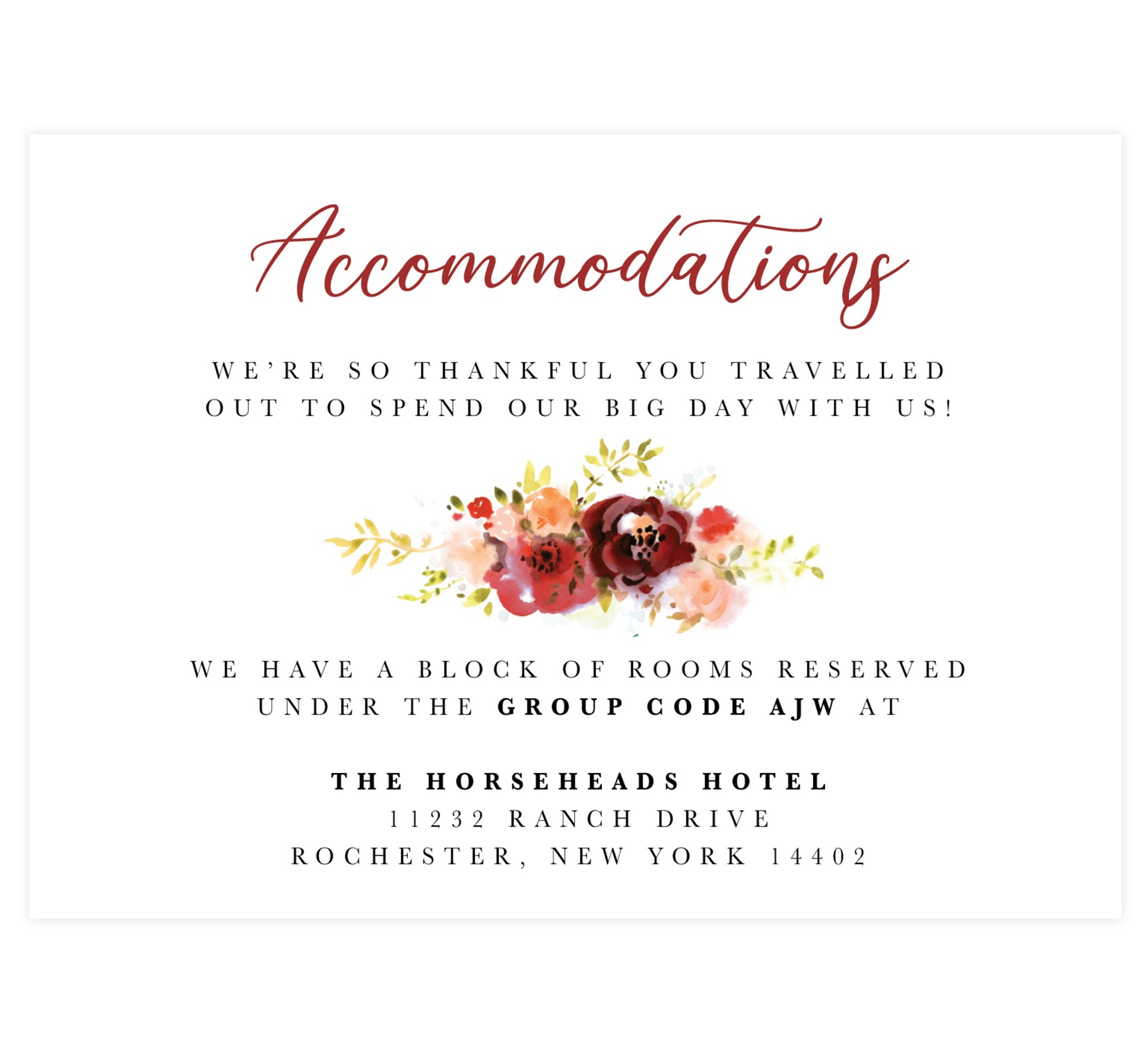 Alluring Floral Wedding Accommodation/Detail Card; white background with black and red text and watercolor florals in the middle