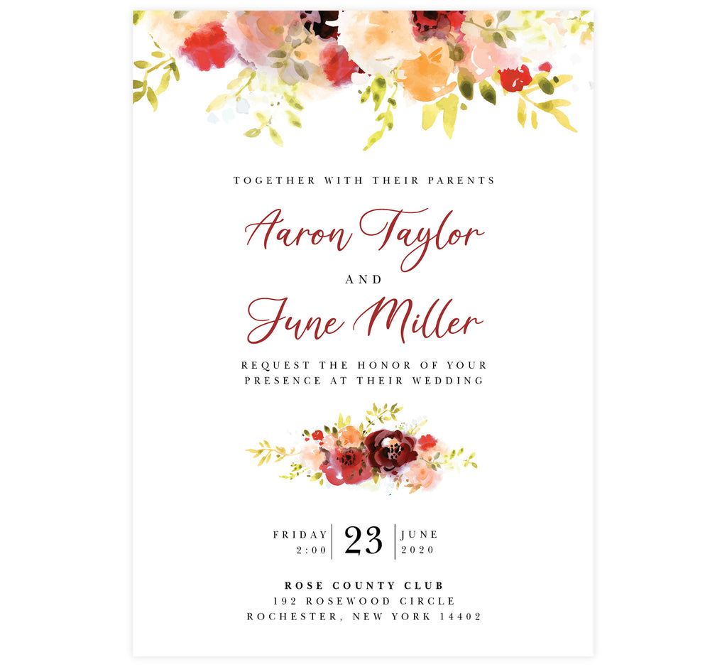 Alluring Floral Wedding Invitation; white background with pink, orange and red florals along the top edge. Black text with the names in a dark red.