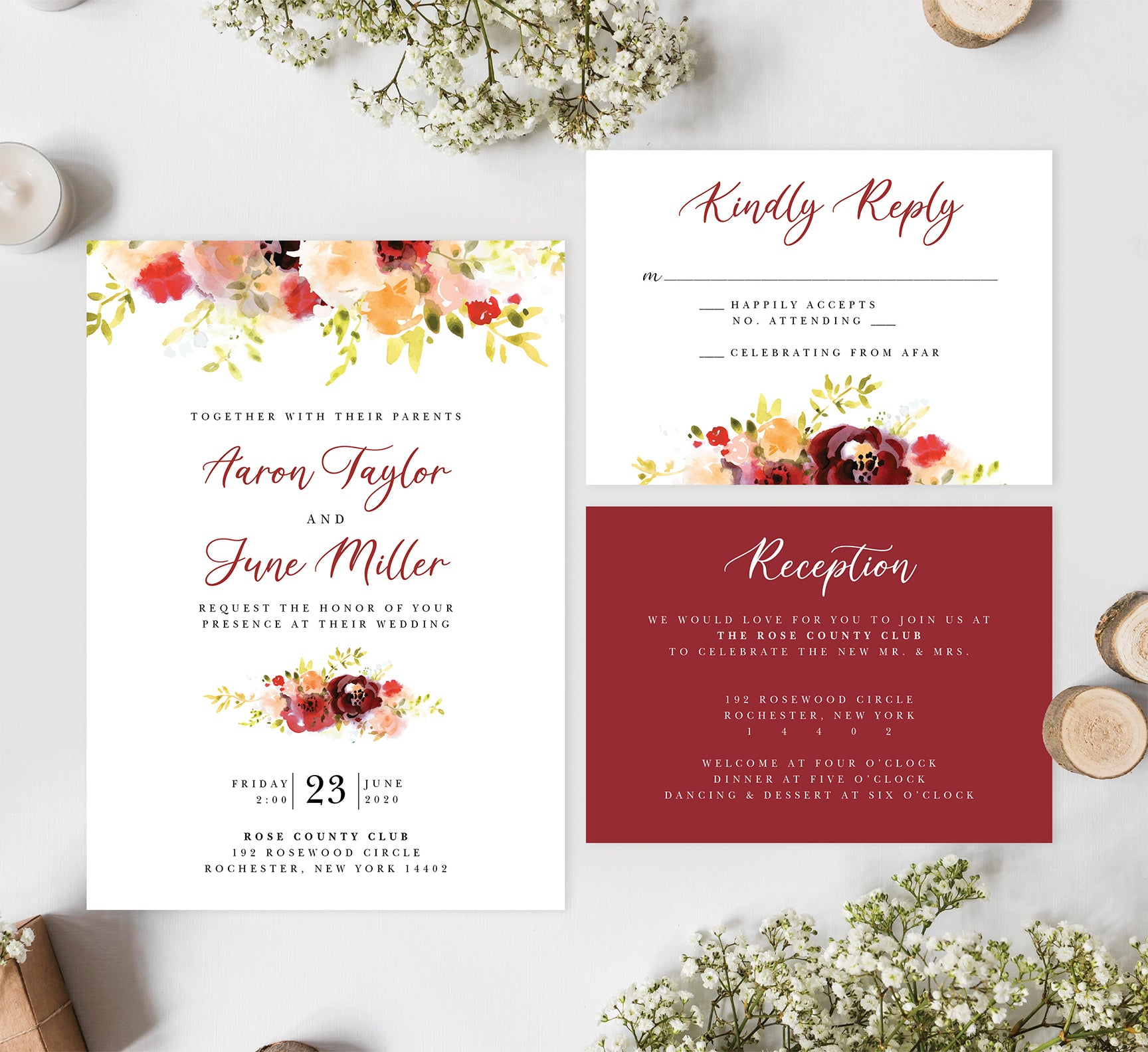 Alluring Floral Wedding Invitation and Set Mockup