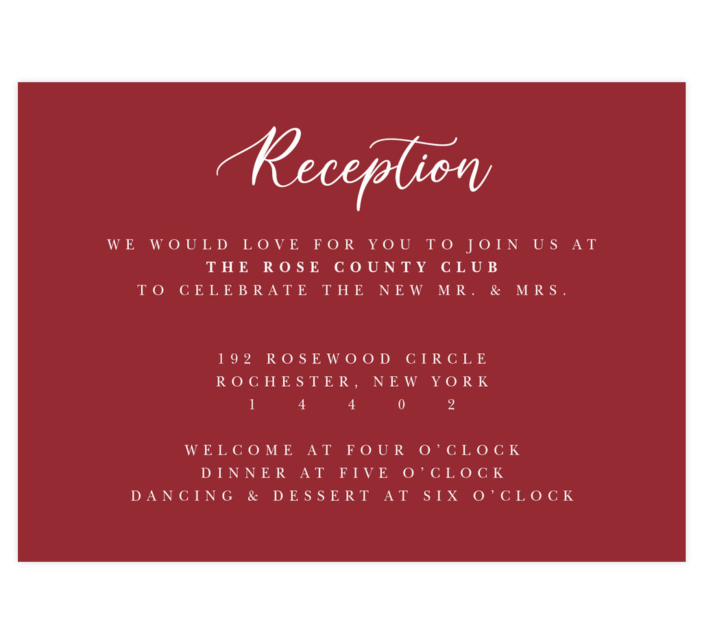 Alluring Floral Wedding Reception Card; dark red background with white text