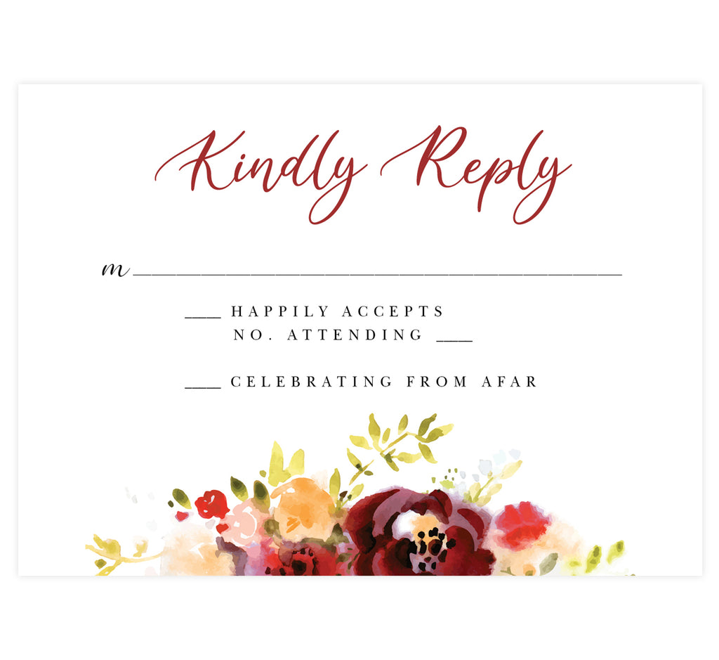 Alluring Floral Wedding Response Card; white background with watercolor florals on the bottom edge and black and red text