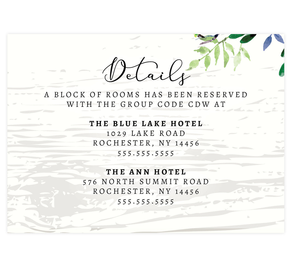 Elegant Purple Watercolor Wedding Detail/Accommodation card; white wash wood background with watercolor greenery on the top right hand corner and black text