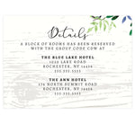 Load image into Gallery viewer, Elegant Purple Watercolor Wedding Detail/Accommodation card; white wash wood background with watercolor greenery on the top right hand corner and black text