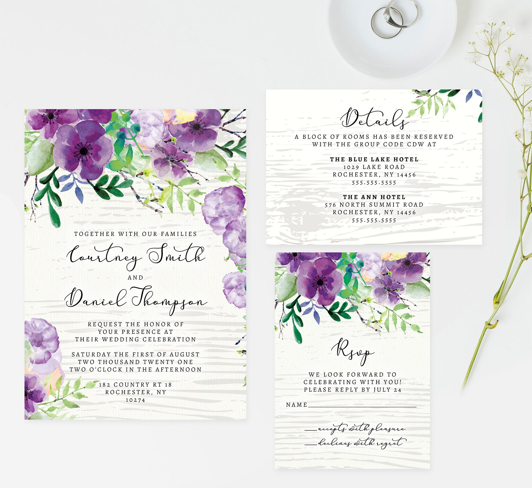 Elegant Purple Watercolor Wedding Invitation and Set Mockup