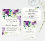 Load image into Gallery viewer, Elegant Purple Watercolor Wedding Invitation and Set Mockup