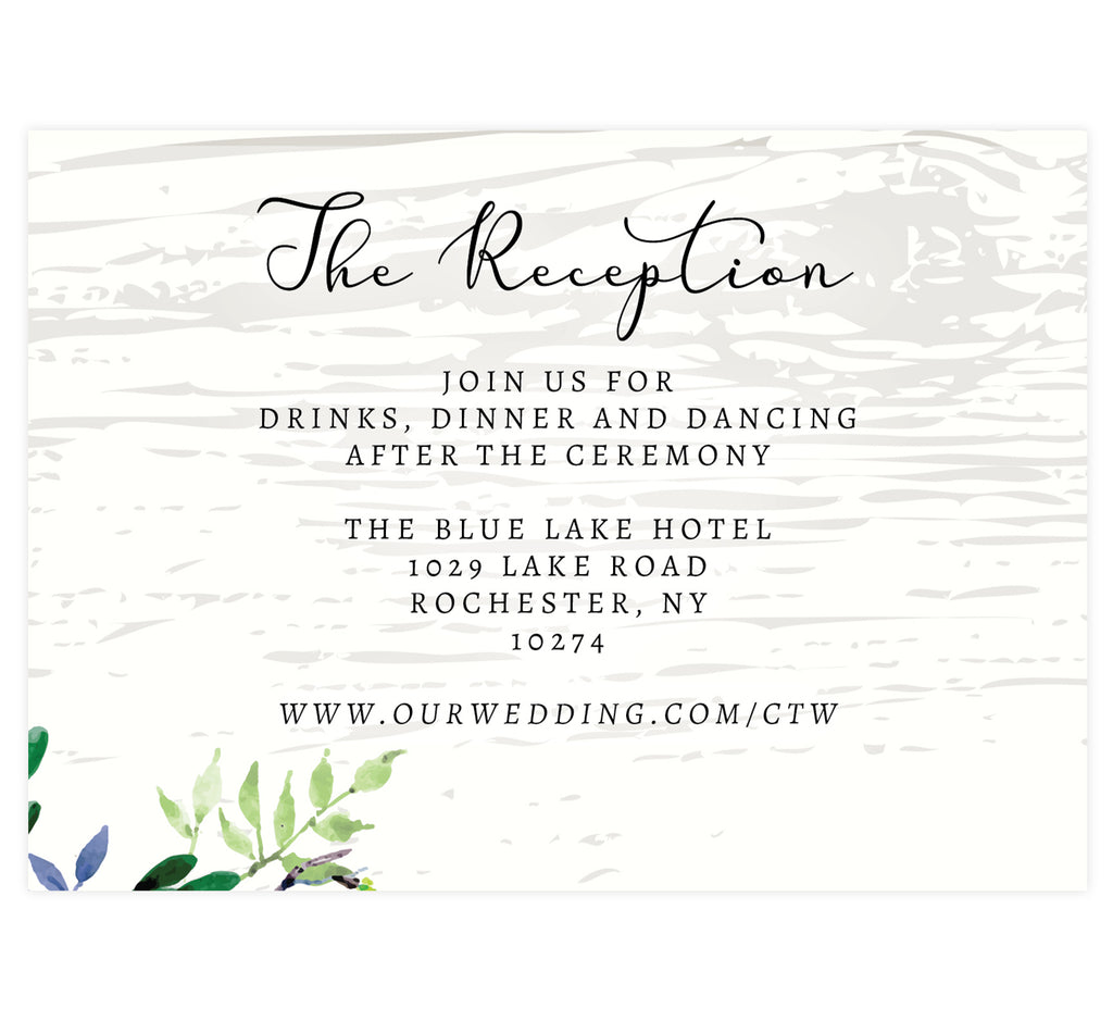 Elegant Purple Watercolor Wedding Reception Card; white washed wood background with black text and greenery in the bottom left corner.