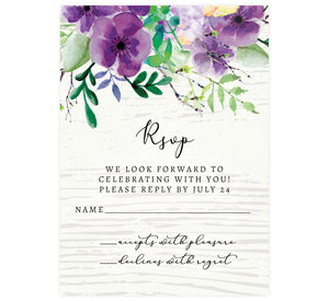 Elegant Purple Watercolor Wedding Response Card; white washed wood background with black text and purple watercolor flowers on the top edge