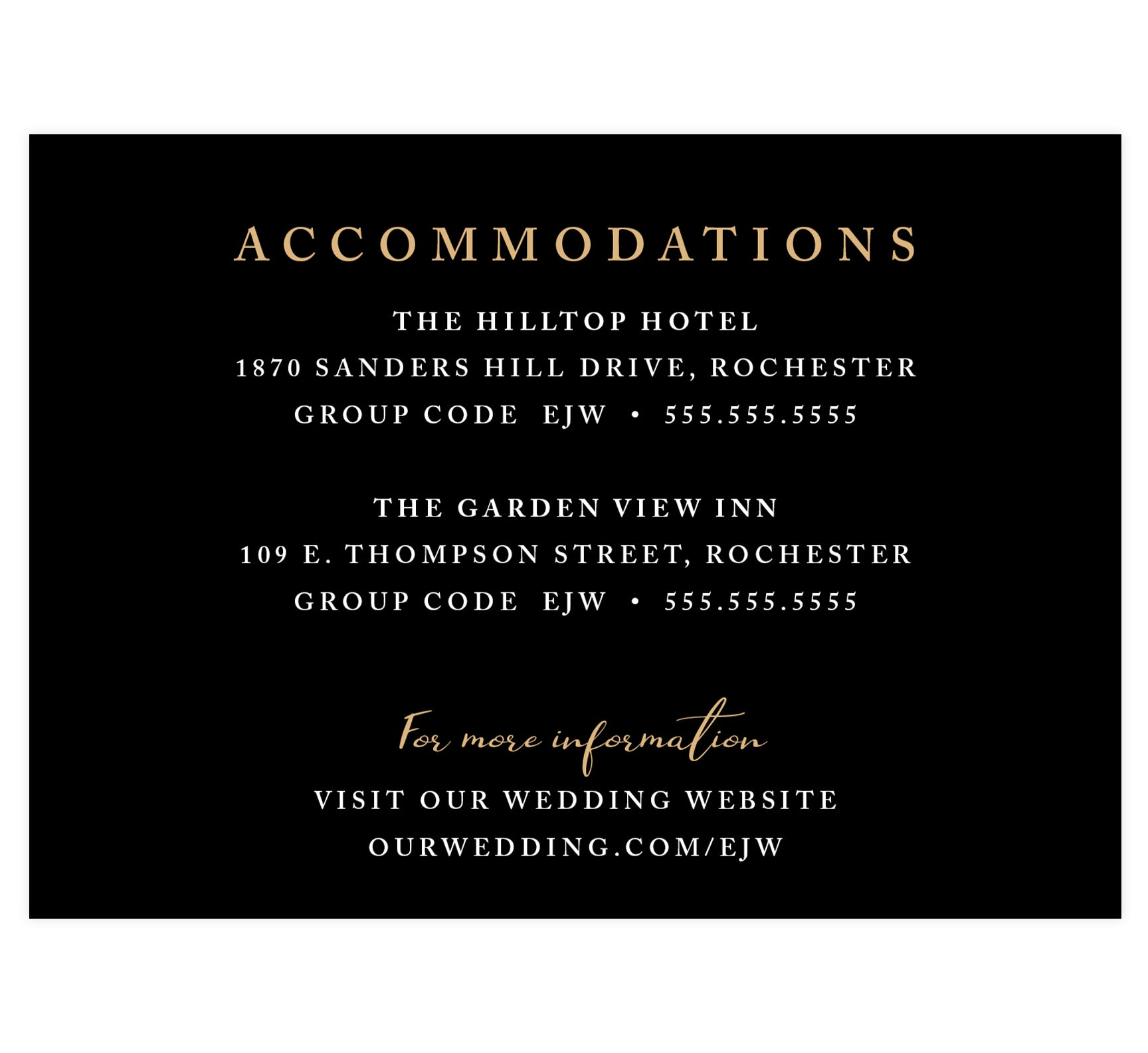 Succulent Frame Wedding accommodations/detail card; black background with white and gold text
