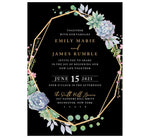 Load image into Gallery viewer, Succulent Frame Wedding Invitation; black background with gold frame, succulent son the top right and bottom left edges of the frame. White and gold text for the information